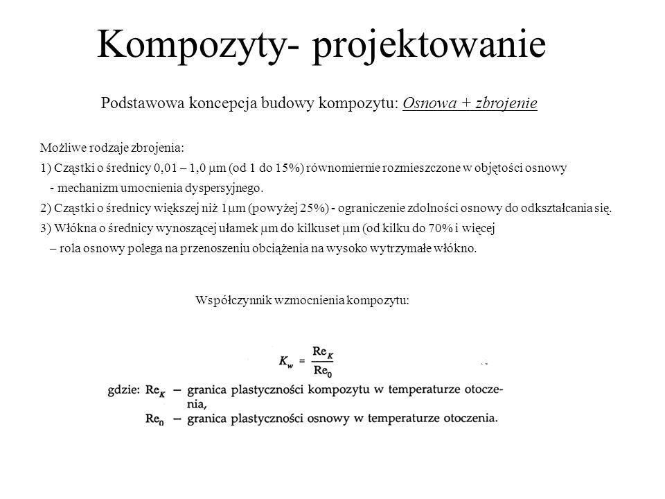 Kompozyty- projektowanie Podstawowa koncepcja budowy kompozytu: Osnowa + zbrojenie Możliwe rodzaje zbrojenia: 1) Cząstki o średnicy 0,01 – 1,0 m (od 1