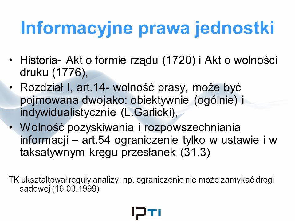 Informacyjne prawa jednostki Historia- Akt o formie rządu (1720) i Akt o wolności druku (1776), Rozdział I, art.14- wolność prasy, może być pojmowana