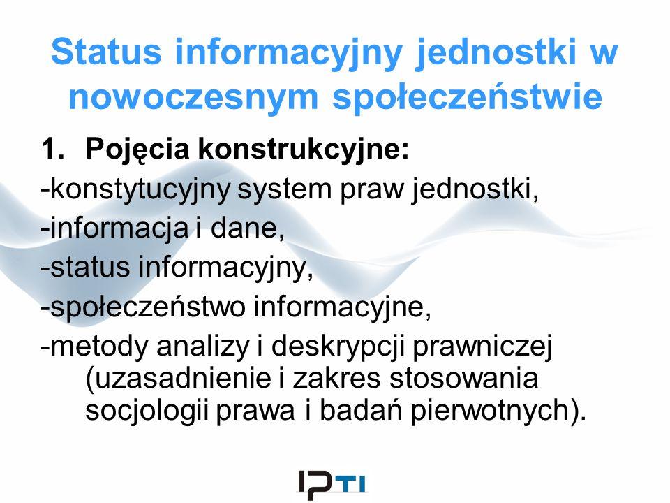 Status informacyjny jednostki w nowoczesnym społeczeństwie 1.Pojęcia konstrukcyjne: -konstytucyjny system praw jednostki, -informacja i dane, -status
