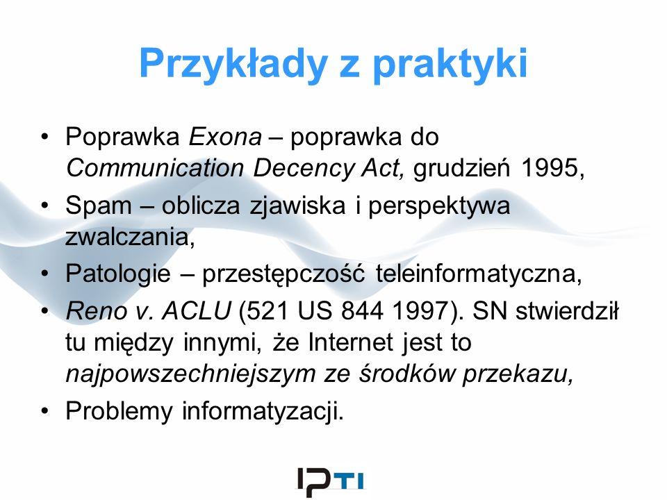 Przykłady z praktyki Poprawka Exona – poprawka do Communication Decency Act, grudzień 1995, Spam – oblicza zjawiska i perspektywa zwalczania, Patologi