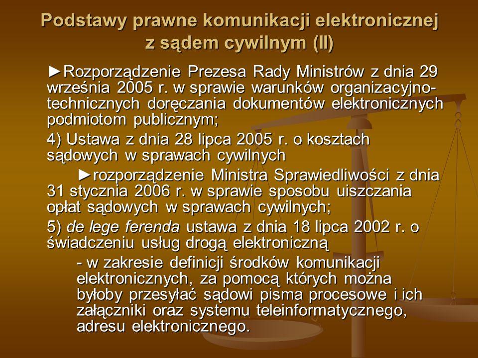 Podstawy prawne komunikacji elektronicznej z sądem cywilnym (II) Rozporządzenie Prezesa Rady Ministrów z dnia 29 września 2005 r. w sprawie warunków o