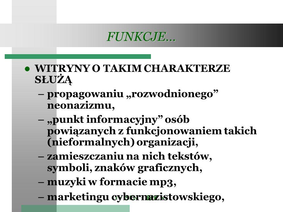 > FUNKCJE… WITRYNY O TAKIM CHARAKTERZE SŁUŻĄ – propagowaniu rozwodnionego neonazizmu, – punkt informacyjny osób powiązanych z funkcjonowaniem takich (nieformalnych) organizacji, – zamieszczaniu na nich tekstów, symboli, znaków graficznych, – muzyki w formacie mp3, – marketingu cybernazistowskiego,