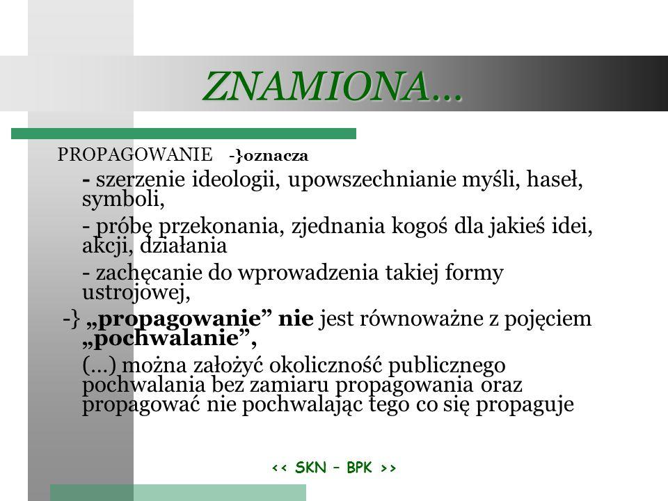 > ZNAMIONA… PROPAGOWANIE -}oznacza - szerzenie ideologii, upowszechnianie myśli, haseł, symboli, - próbę przekonania, zjednania kogoś dla jakieś idei,