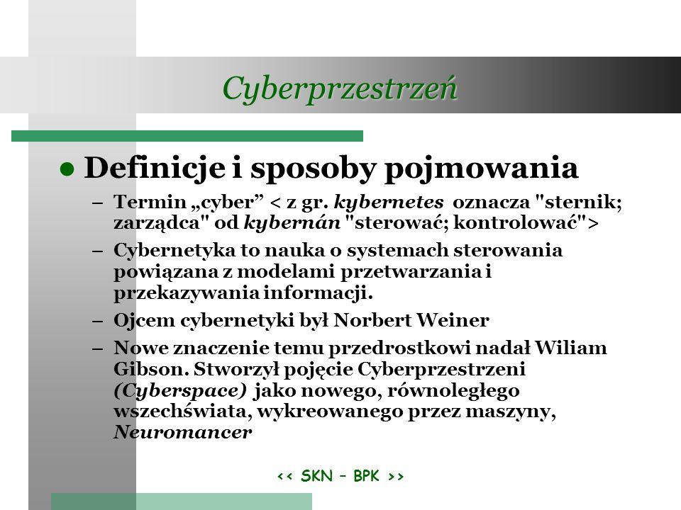 > Cyberprzestrzeń Definicje i sposoby pojmowania – Termin cyber – Cybernetyka to nauka o systemach sterowania powiązana z modelami przetwarzania i prz