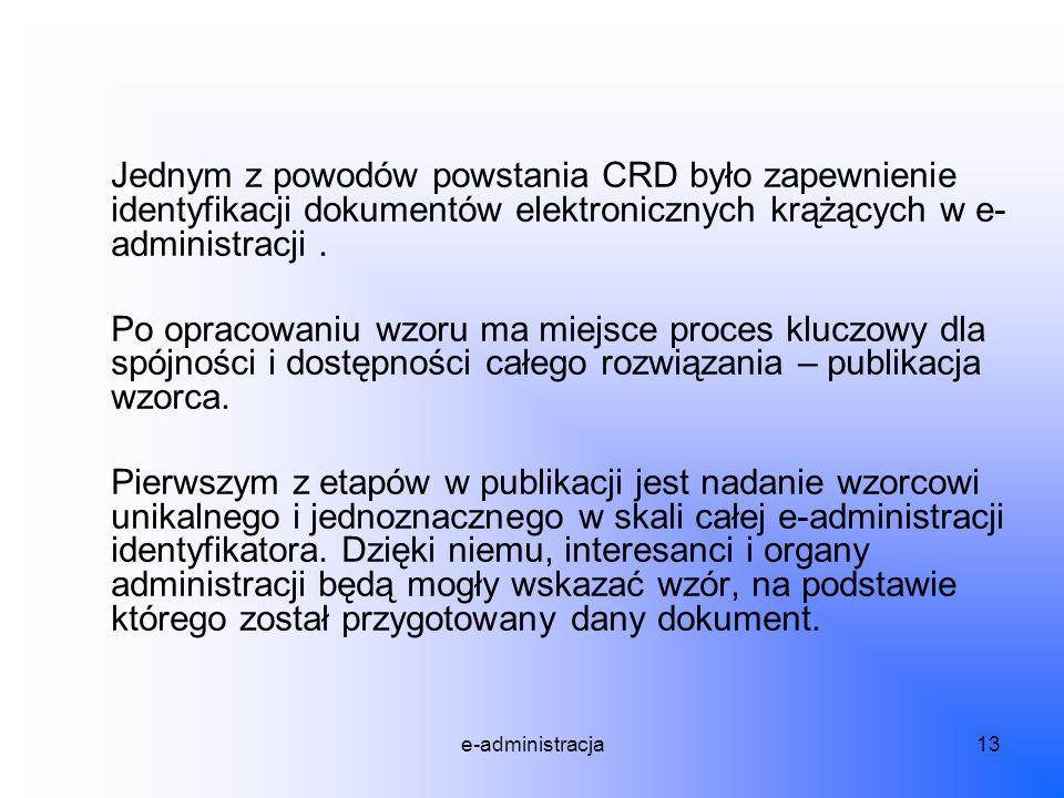 e-administracja13 Jednym z powodów powstania CRD było zapewnienie identyfikacji dokumentów elektronicznych krążących w e- administracji. Po opracowani