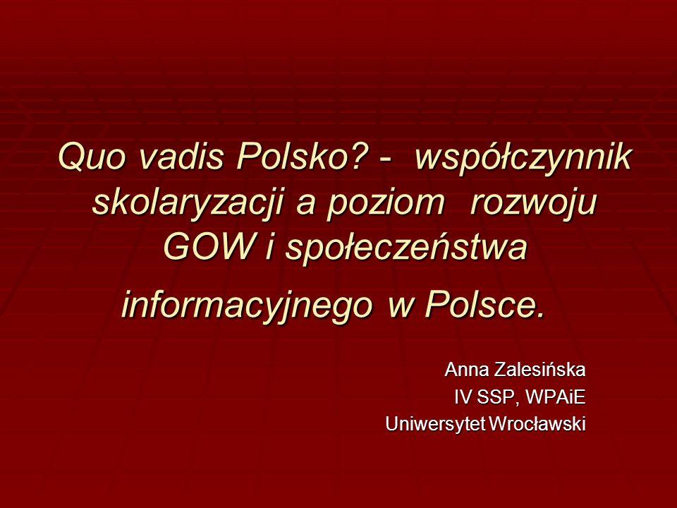 Quo vadis Polsko? - współczynnik skolaryzacji a poziom rozwoju GOW i społeczeństwa informacyjnego w Polsce. Quo vadis Polsko? - współczynnik skolaryza