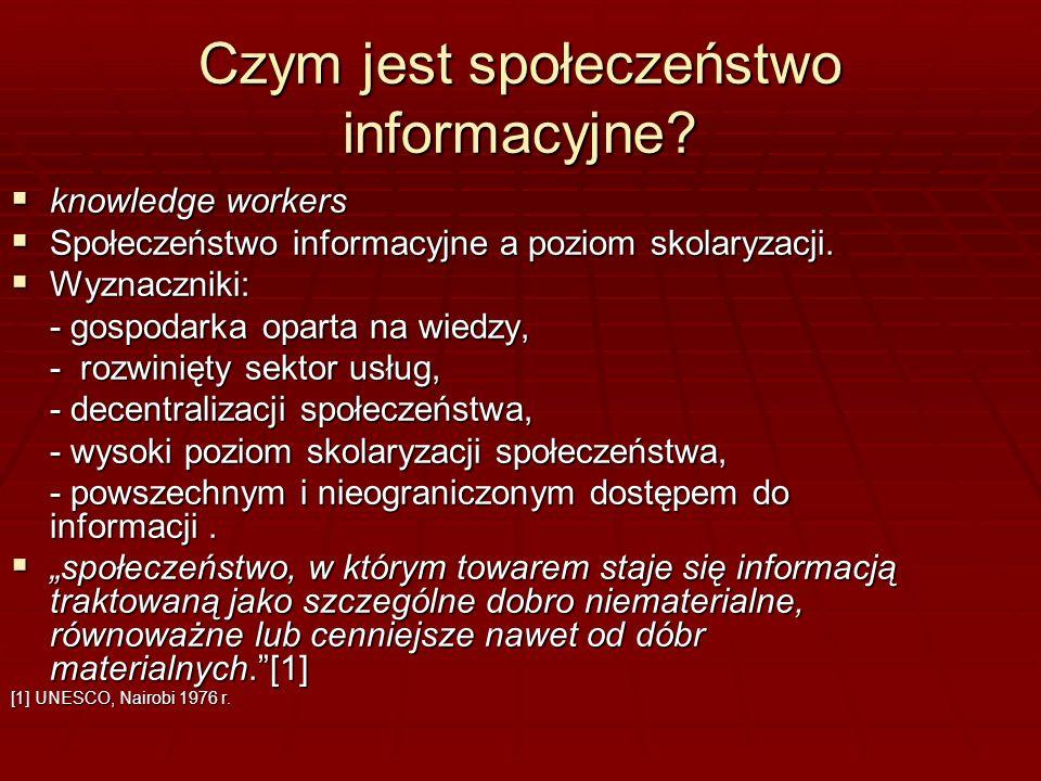 Czym jest społeczeństwo informacyjne? knowledge workers knowledge workers Społeczeństwo informacyjne a poziom skolaryzacji. Społeczeństwo informacyjne