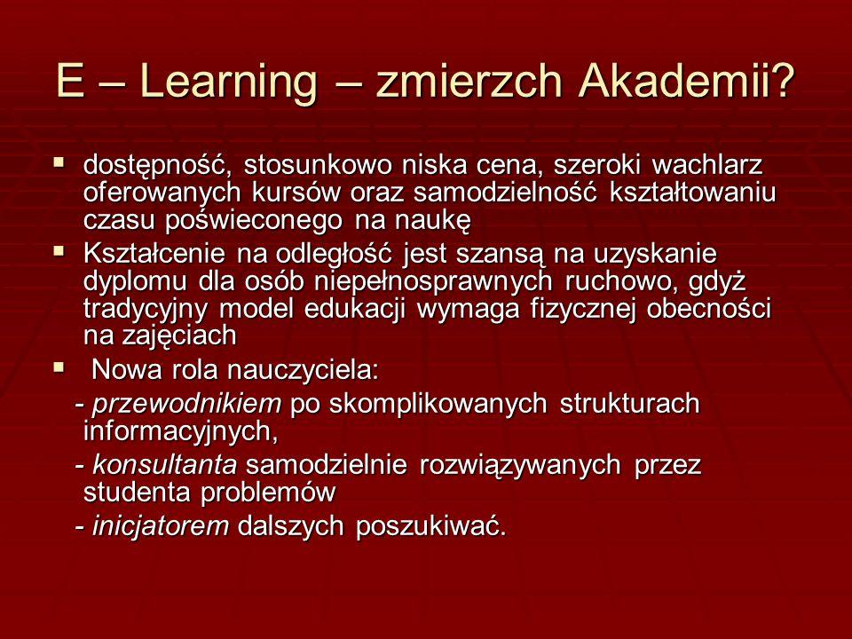 E – learning ( analiza SWOT) Mocne strony (strenghts) Lepsza wizualizacja prezentowanych treści Przystępny sposób zdobywania wiedzy Elastyczność kształtowania czasu nauki.