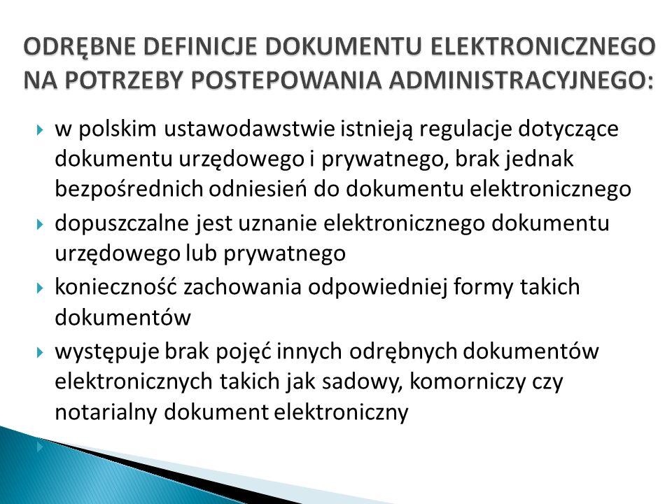 w polskim ustawodawstwie istnieją regulacje dotyczące dokumentu urzędowego i prywatnego, brak jednak bezpośrednich odniesień do dokumentu elektroniczn