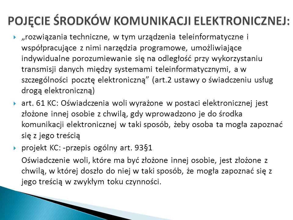 rozwiązania techniczne, w tym urządzenia teleinformatyczne i współpracujące z nimi narzędzia programowe, umożliwiające indywidualne porozumiewanie się