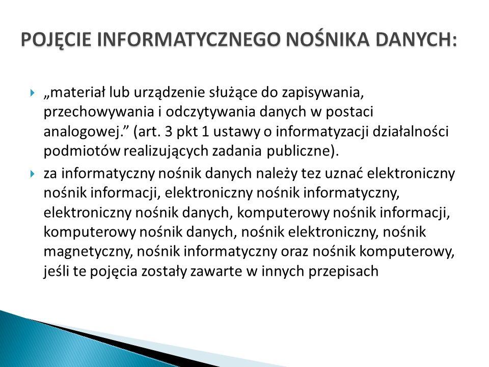 materiał lub urządzenie służące do zapisywania, przechowywania i odczytywania danych w postaci analogowej. (art. 3 pkt 1 ustawy o informatyzacji dział