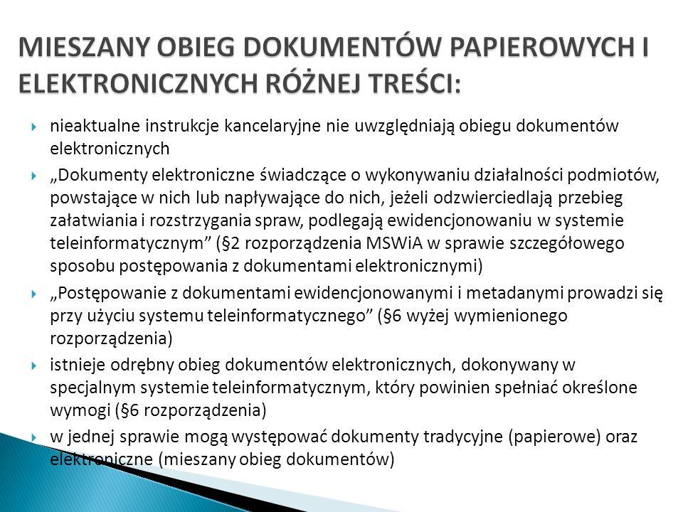nieaktualne instrukcje kancelaryjne nie uwzględniają obiegu dokumentów elektronicznych Dokumenty elektroniczne świadczące o wykonywaniu działalności p