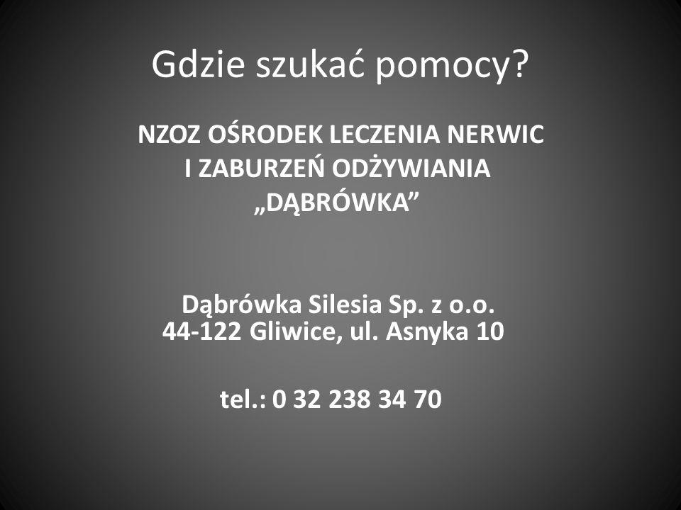 Gdzie szukać pomocy? NZOZ OŚRODEK LECZENIA NERWIC I ZABURZEŃ ODŻYWIANIA DĄBRÓWKA Dąbrówka Silesia Sp. z o.o. 44-122 Gliwice, ul. Asnyka 10 tel.: 0 32