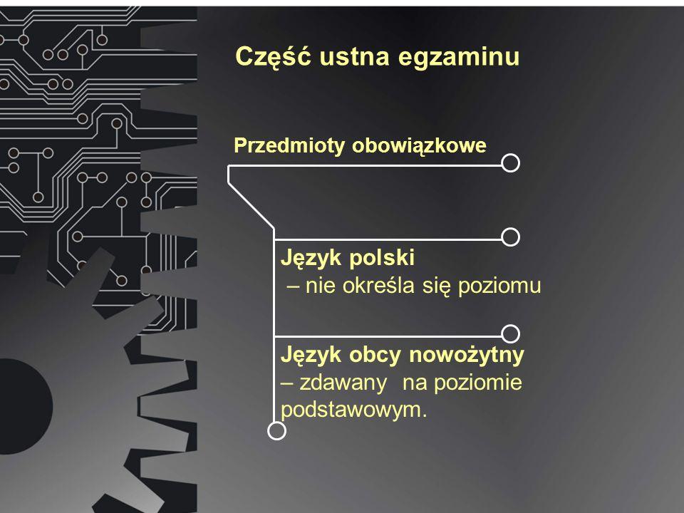 Część ustna egzaminu Przedmioty obowiązkowe Język polski – nie określa się poziomu Język obcy nowożytny – zdawany na poziomie podstawowym.