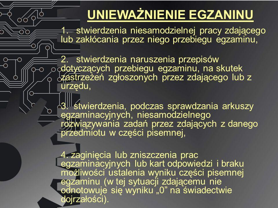 UNIEWAŻNIENIE EGZANINU 1. stwierdzenia niesamodzielnej pracy zdającego lub zakłócania przez niego przebiegu egzaminu, 2. stwierdzenia naruszenia przep