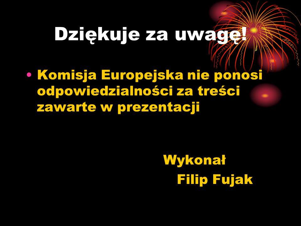 Dziękuje za uwagę! Komisja Europejska nie ponosi odpowiedzialności za treści zawarte w prezentacji Wykonał Filip Fujak