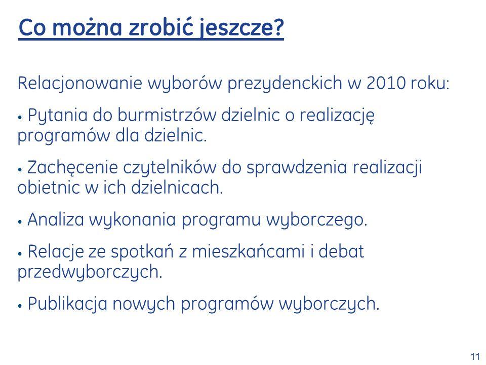 11 Co można zrobić jeszcze? Relacjonowanie wyborów prezydenckich w 2010 roku: Pytania do burmistrzów dzielnic o realizację programów dla dzielnic. Zac