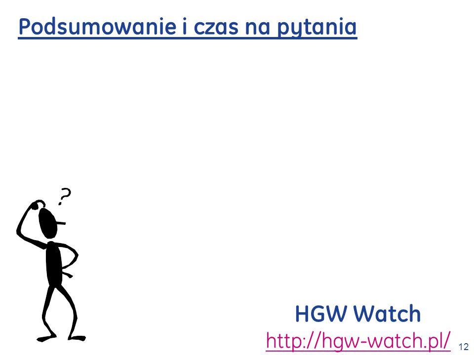 12 Podsumowanie i czas na pytania HGW Watch http://hgw-watch.pl/