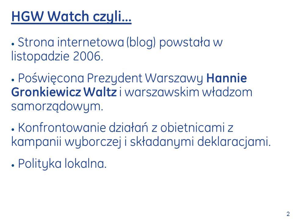 2 Strona internetowa (blog) powstała w listopadzie 2006. Poświęcona Prezydent Warszawy Hannie Gronkiewicz Waltz i warszawskim władzom samorządowym. Ko