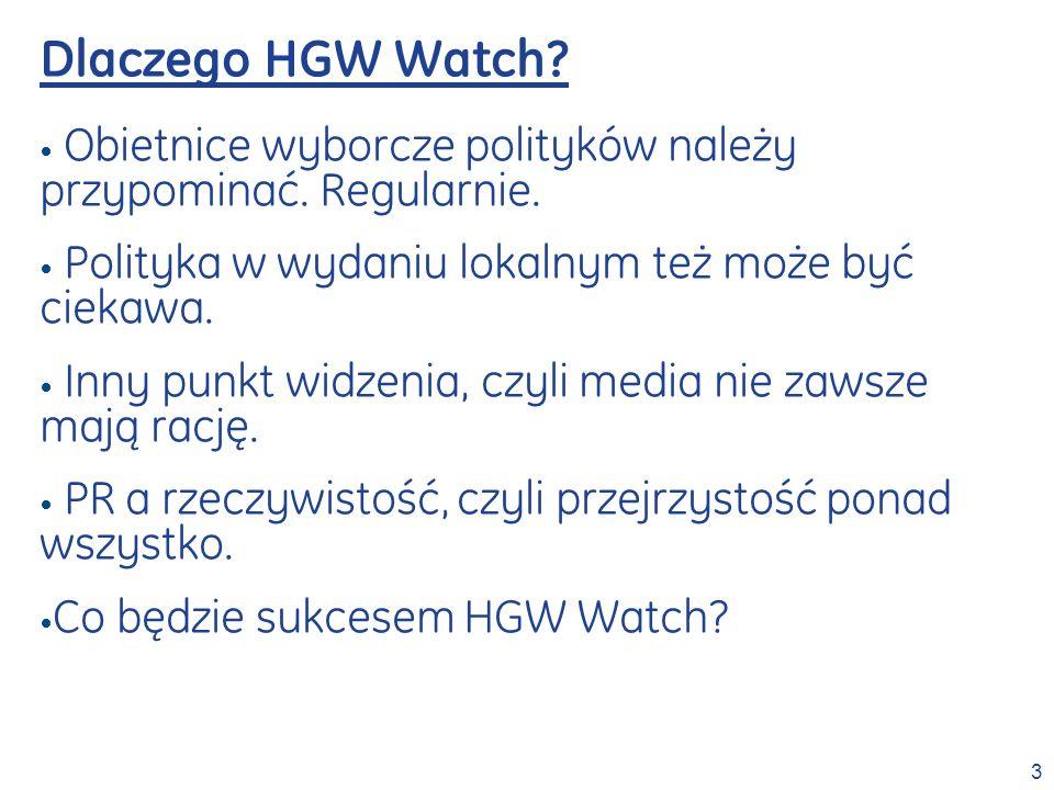 3 Dlaczego HGW Watch? Obietnice wyborcze polityków należy przypominać. Regularnie. Polityka w wydaniu lokalnym też może być ciekawa. Inny punkt widzen
