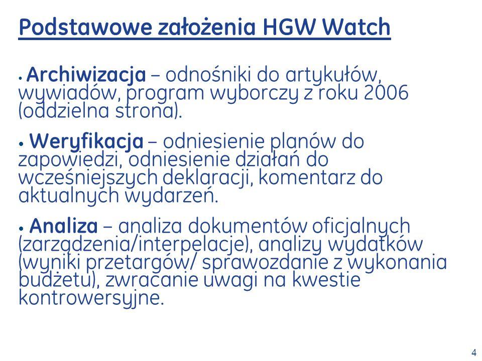 4 Podstawowe założenia HGW Watch Archiwizacja – odnośniki do artykułów, wywiadów, program wyborczy z roku 2006 (oddzielna strona). Weryfikacja – odnie