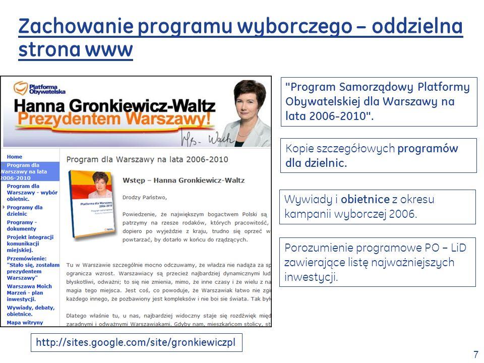 8 Zachowanie programu wyborczego – oddzielna strona www Kampania wyborcza gronkiewicz.pl – wersja odzyskana