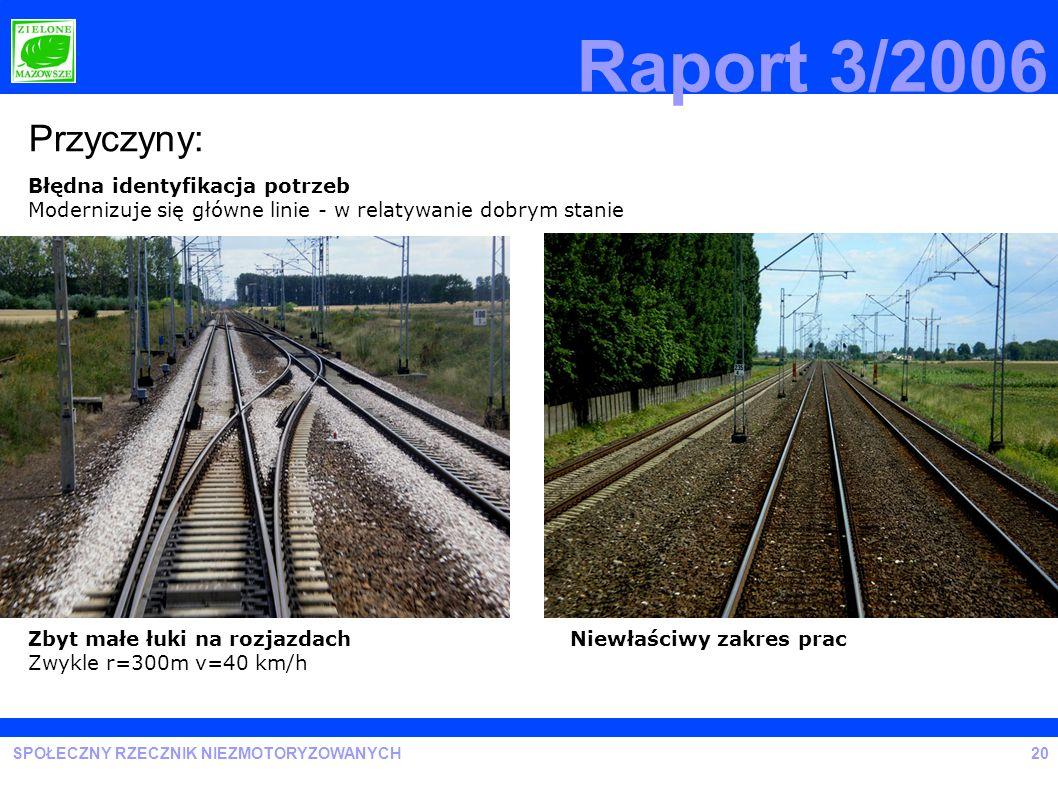SPOŁECZNY RZECZNIK NIEZMOTORYZOWANYCH Raport 3/2006 Przyczyny: Zbyt małe łuki na rozjazdach Zwykle r=300m v=40 km/h Niewłaściwy zakres prac Błędna ide