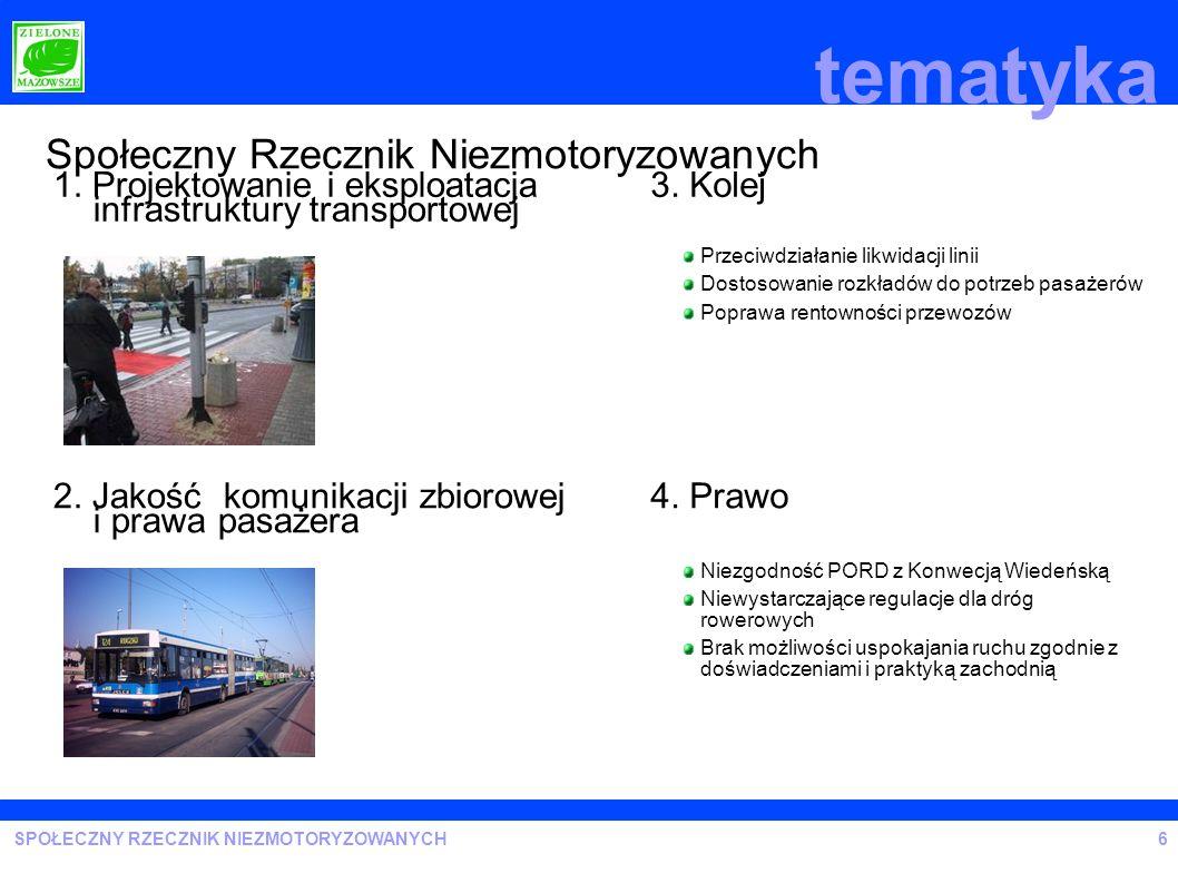 SPOŁECZNY RZECZNIK NIEZMOTORYZOWANYCH tematyka 6 Społeczny Rzecznik Niezmotoryzowanych 1. Projektowanie i eksploatacja infrastruktury transportowej 2.