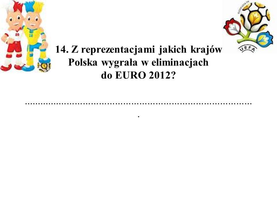 14. Z reprezentacjami jakich krajów Polska wygrała w eliminacjach do EURO 2012?.......................................................................