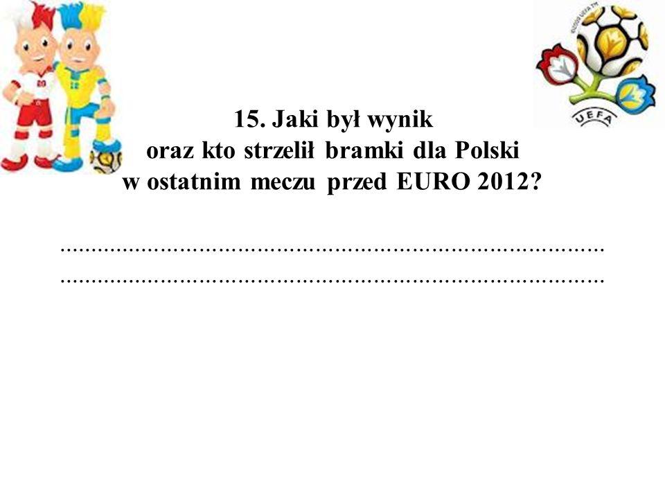 15. Jaki był wynik oraz kto strzelił bramki dla Polski w ostatnim meczu przed EURO 2012?..............................................................