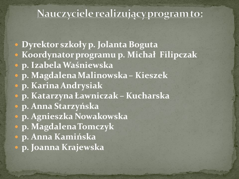 Dyrektor szkoły p. Jolanta Boguta Koordynator programu p.