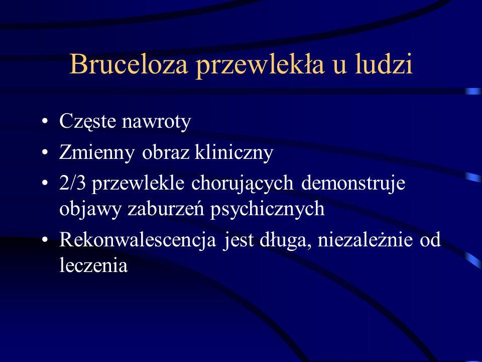 Bruceloza przewlekła u ludzi Częste nawroty Zmienny obraz kliniczny 2/3 przewlekle chorujących demonstruje objawy zaburzeń psychicznych Rekonwalescenc