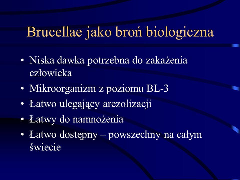 Brucellae jako broń biologiczna Niska dawka potrzebna do zakażenia człowieka Mikroorganizm z poziomu BL-3 Łatwo ulegający arezolizacji Łatwy do namnoż