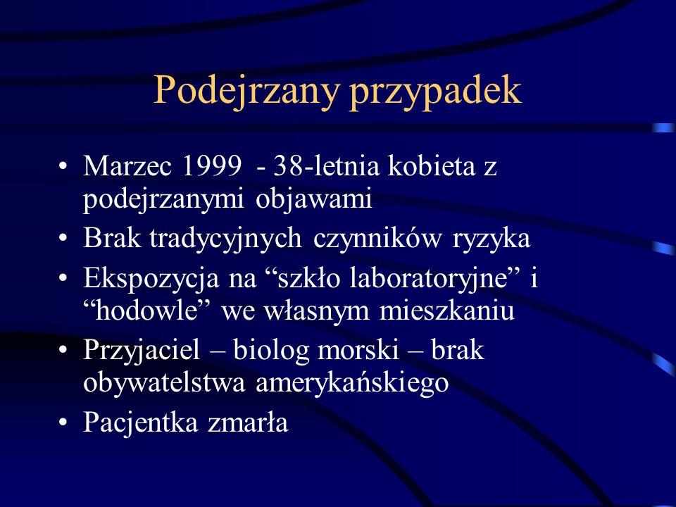 Podejrzany przypadek Marzec 1999 - 38-letnia kobieta z podejrzanymi objawami Brak tradycyjnych czynników ryzyka Ekspozycja na szkło laboratoryjne ihod