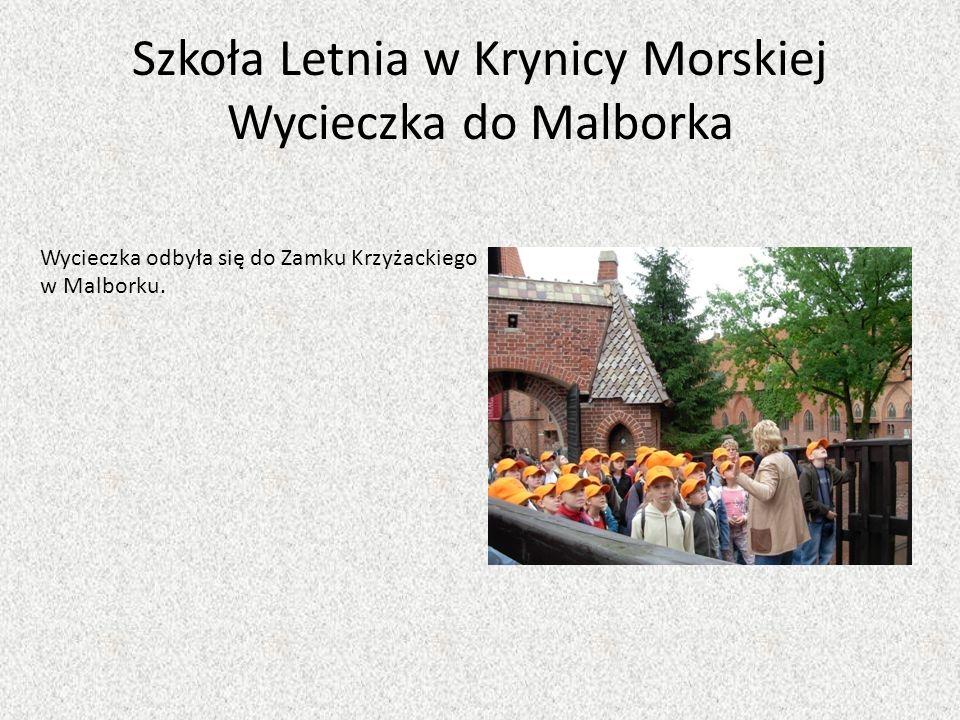 Szkoła Letnia w Krynicy Morskiej Wycieczka do Malborka Wycieczka odbyła się do Zamku Krzyżackiego w Malborku.