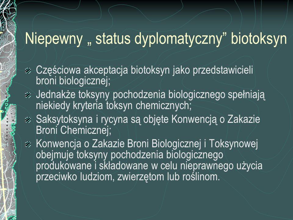 Niepewny status dyplomatyczny biotoksyn Częściowa akceptacja biotoksyn jako przedstawicieli broni biologicznej; Jednakże toksyny pochodzenia biologicz