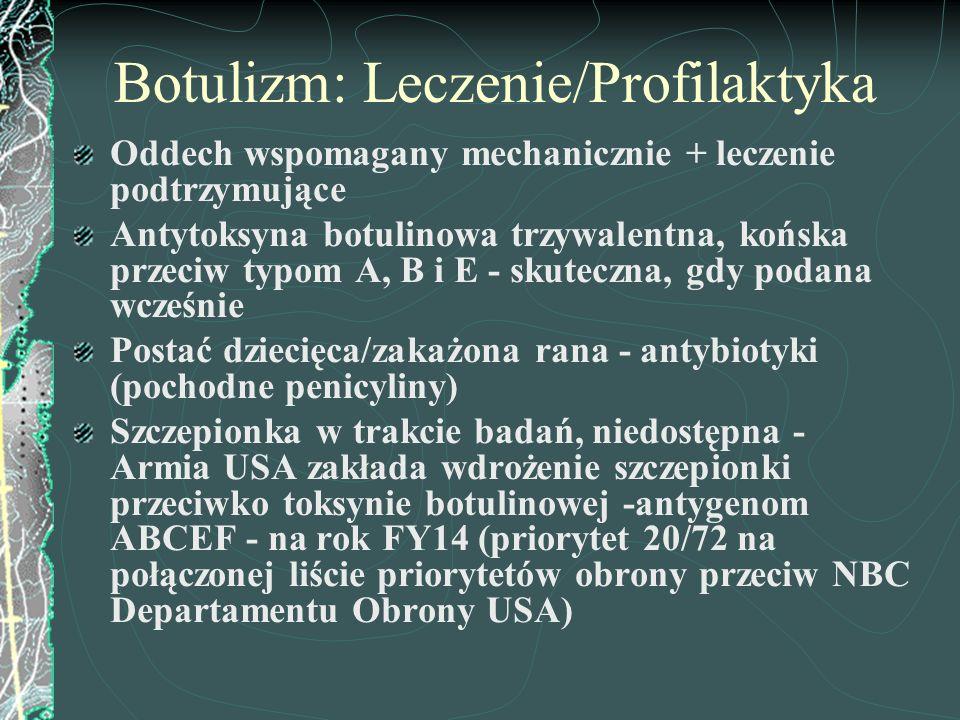 Botulizm: Leczenie/Profilaktyka Oddech wspomagany mechanicznie + leczenie podtrzymujące Antytoksyna botulinowa trzywalentna, końska przeciw typom A, B
