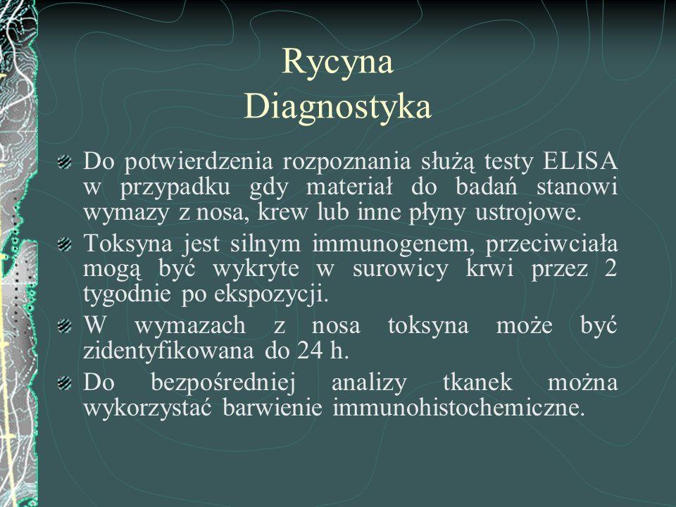 Rycyna Diagnostyka Do potwierdzenia rozpoznania służą testy ELISA w przypadku gdy materiał do badań stanowi wymazy z nosa, krew lub inne płyny ustrojo