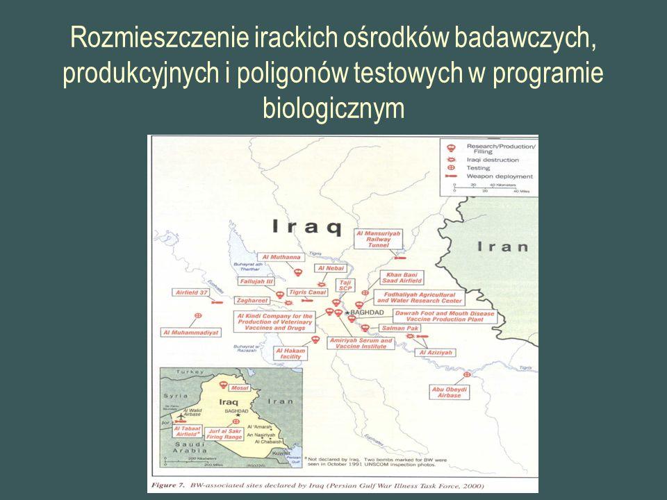 Rozmieszczenie irackich ośrodków badawczych, produkcyjnych i poligonów testowych w programie biologicznym