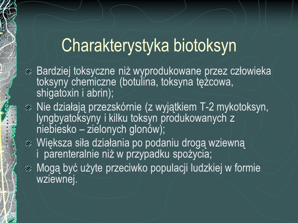 Charakterystyka biotoksyn Bardziej toksyczne niż wyprodukowane przez człowieka toksyny chemiczne (botulina, toksyna tężcowa, shigatoxin i abrin); Nie