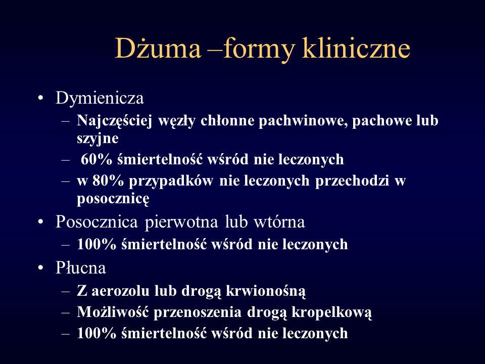 Dżuma –formy kliniczne Dymienicza –Najczęściej węzły chłonne pachwinowe, pachowe lub szyjne – 60% śmiertelność wśród nie leczonych –w 80% przypadków n