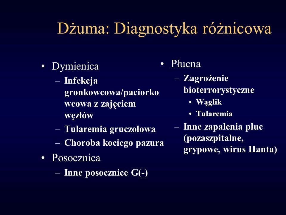 Dżuma: Diagnostyka różnicowa Dymienica –Infekcja gronkowcowa/paciorko wcowa z zajęciem węzłów –Tularemia gruczołowa –Choroba kociego pazura Posocznica –Inne posocznice G(-) Płucna –Zagrożenie bioterrorystyczne Wąglik Tularemia –Inne zapalenia płuc (pozaszpitalne, grypowe, wirus Hanta)