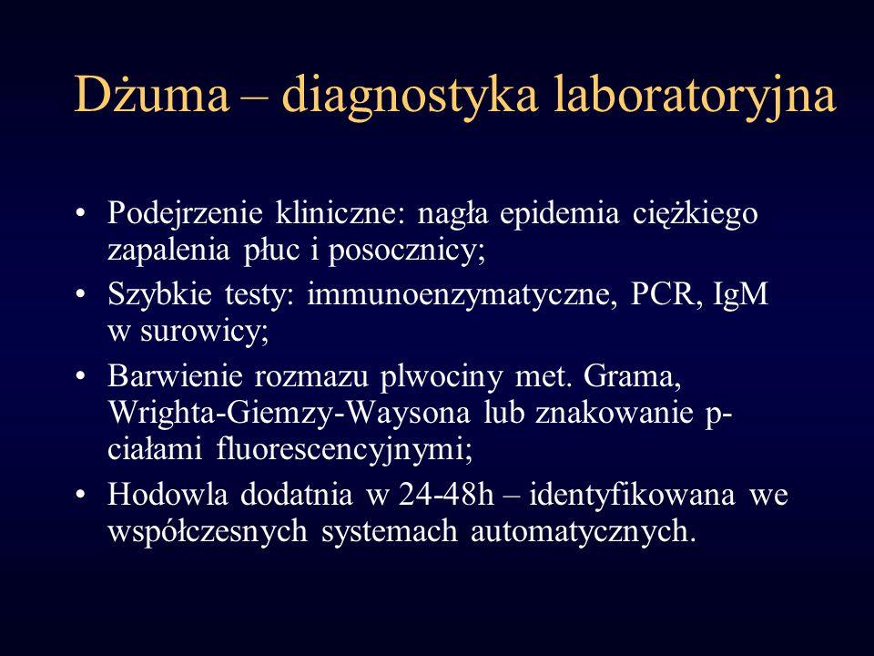 Dżuma – diagnostyka laboratoryjna Podejrzenie kliniczne: nagła epidemia ciężkiego zapalenia płuc i posocznicy; Szybkie testy: immunoenzymatyczne, PCR, IgM w surowicy; Barwienie rozmazu plwociny met.