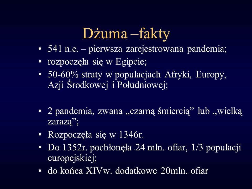 Dżuma –fakty 541 n.e. – pierwsza zarejestrowana pandemia; rozpoczęła się w Egipcie; 50-60% straty w populacjach Afryki, Europy, Azji Środkowej i Połud