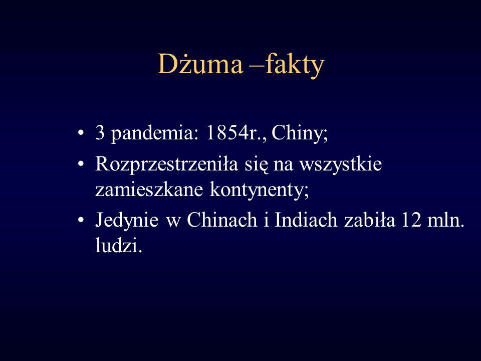 Dżuma –fakty 3 pandemia: 1854r., Chiny; Rozprzestrzeniła się na wszystkie zamieszkane kontynenty; Jedynie w Chinach i Indiach zabiła 12 mln. ludzi.