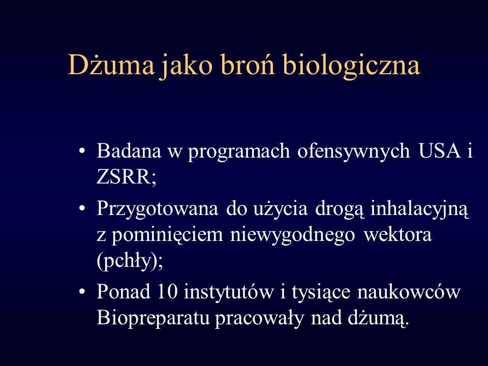 Dżuma jako broń biologiczna Badana w programach ofensywnych USA i ZSRR; Przygotowana do użycia drogą inhalacyjną z pominięciem niewygodnego wektora (pchły); Ponad 10 instytutów i tysiące naukowców Biopreparatu pracowały nad dżumą.