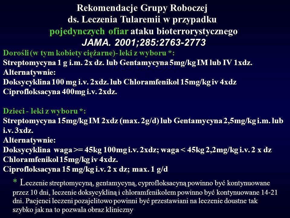 Rekomendacje Grupy Roboczej ds. Leczenia Tularemii w przypadku pojedynczych ofiar ataku bioterrorystycznego JAMA. 2001;285:2763-2773 Wg JAMA 2001 Doro