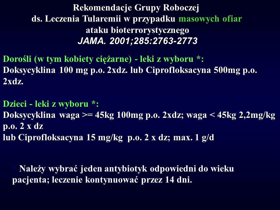 Rekomendacje Grupy Roboczej ds. Leczenia Tularemii w przypadku masowych ofiar ataku bioterrorystycznego JAMA. 2001;285:2763-2773 Dorośli (w tym kobiet