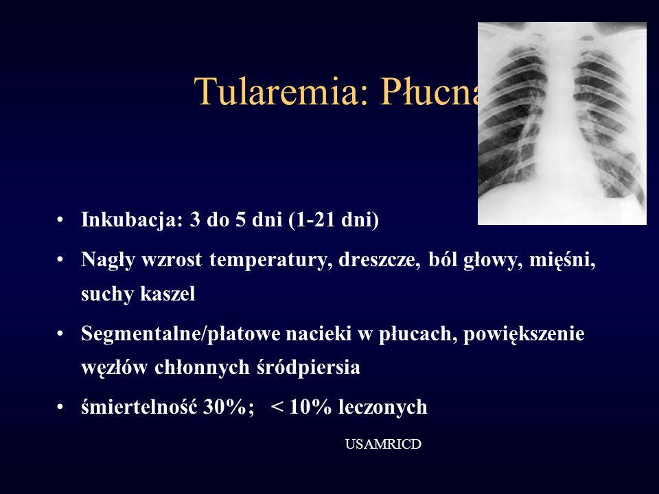 Tularemia: Płucna Inkubacja: 3 do 5 dni (1-21 dni) Nagły wzrost temperatury, dreszcze, ból głowy, mięśni, suchy kaszel Segmentalne/płatowe nacieki w p