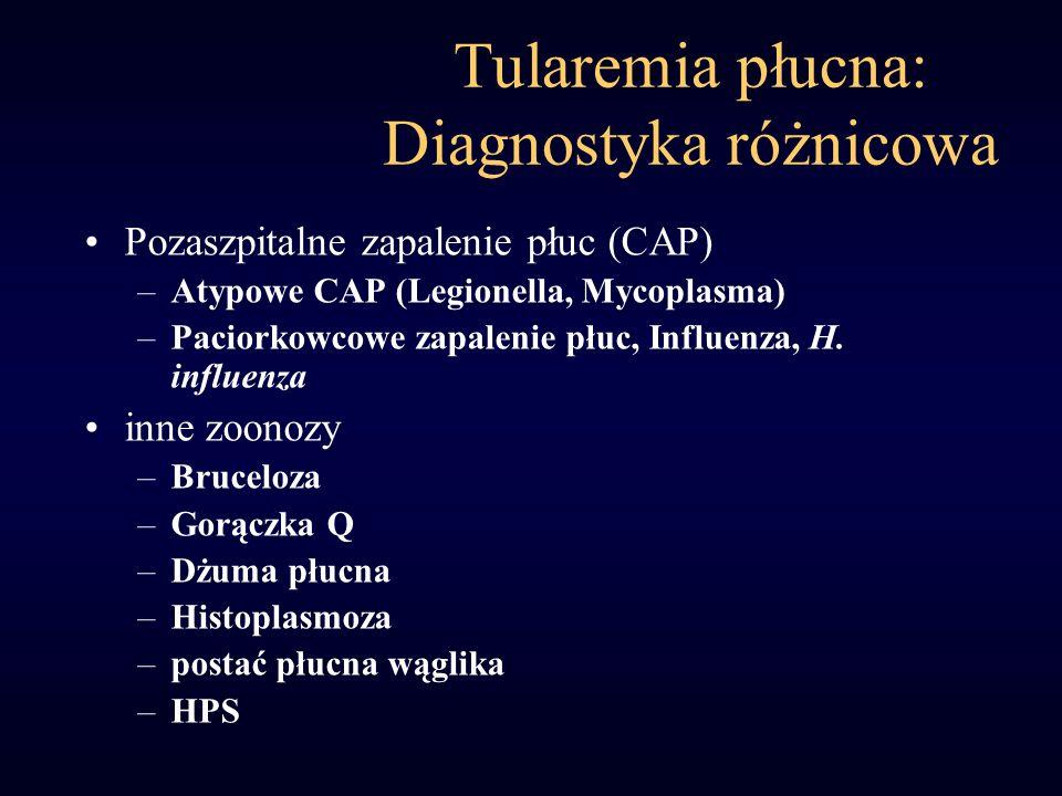 Tularemia płucna: Diagnostyka różnicowa Pozaszpitalne zapalenie płuc (CAP) –Atypowe CAP (Legionella, Mycoplasma) –Paciorkowcowe zapalenie płuc, Influe